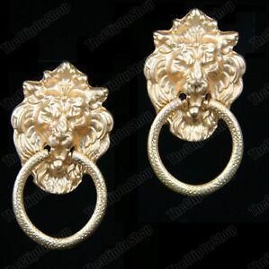 """1.75""""BIG lion head DOOR KNOCKER EARRINGS brushed gold HOOP antique retro clips"""