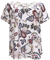 New Ex. M&S White Blue Paisley Print Casual Plus Size Curve Tunic Top