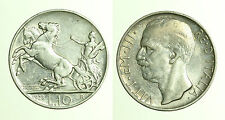 pcc1308_1) Italia regno Vittorio Emanuele III lire 10 Biga 1928 Toned