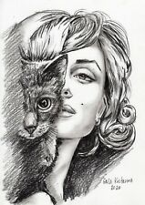Marilyn And Cat original Gala Kostroma pencil drawing painting Marylin Monroe