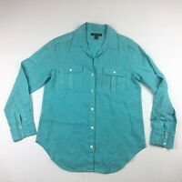 Tommy Bahama Womens Long Sleeve Blue Linen Button Up Shirt XS *