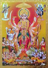 """Durga Kali Saraswati, Hindu Gods Hawan Puja * POSTER (Golden Foiled Paper 5""""x7"""")"""