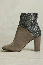 Anthropologie Booties Cubanas Ciara Glitter Suede Taupe Size 39  $228  GORGEOUS