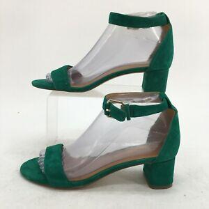 J.Crew Sandal Women 6.5 Green Suede Ankle Buckle Strap Block Heel Open Toe H7237