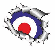 XXL Grande Classic Strappato METALLO RIP RAF MOD STYLE COCCARDA Auto Adesivo Vinile Decalcomania