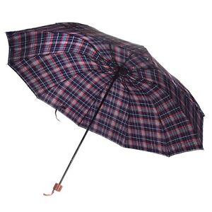"50"" Men's Plaid Windproof Travel UV Protection Compact Folding Sun Rain Umbrella"