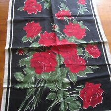 Vintage 1960s Pure Linen Red Black Roses Tea Towel Retro Chic New Fabric