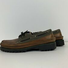 d3739ba13441a6 Tommy Hilfiger Mens Leather Deck Boat Shoes Size 8M Vintage 90s Brown Flag  Logo