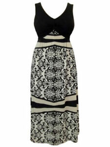 Stunning black white & beige maxi dress with tie backs by Threads size 14