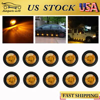 "10x 3/4"" LED Bullet Amber Side Marker Lights for Ford Auto Trailer Truck Lamp"