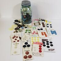 3 Pounds Vintage Sewing Buttons Mixed Lot W/Atlas Strong Shoulder Mason Jar