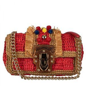 DOLCE & GABBANA Raffia Shoulder Bag LUCIA with Pom-Pom Studs Red Beige 09587