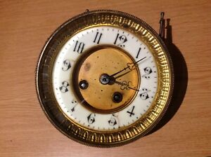 ANTIQUE FRENCH DRUM CLOCK MOVEMENT FOR SPARE PARTS 133mm Diam. For Aperture 121