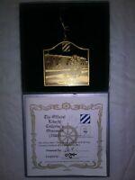 24k Gold on Brass 2003 Christmas Ornament Bldg One Fort Stewart, GA