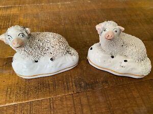 "Pair Vintage Staffordshire Confetti Porcelain Ewe Lamb Sheep Figurines 3.25"""