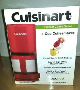 New Red Cuisinart DCC-450BK 4-Cup Coffee Maker with Stainless-Steel Carafe