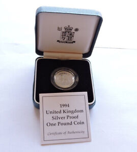 1994 Royal Mint Silver Proof £1 Scottish Lion Cased With COA
