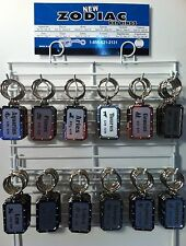 New 72 Piece Nickel Plated Zodiac Key Chain on Display rack USA Made Horoscope
