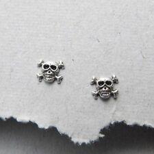 925 Sold Sterling Silver Stud Skull Earrings Unisex Gift New