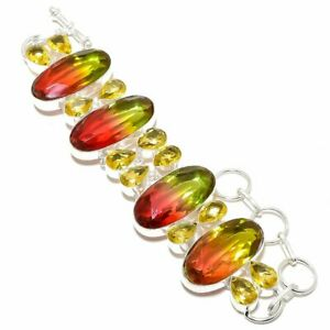 "Bi-Color Tourmaline, Citrine Gemstone 925 Sterling Silver Bracelet 7-8"""