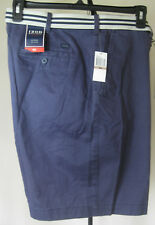 NWT Men's IZOD Chino Shorts 42W Solid Blue Flat Front 100% Cotton Dbl D Belt New