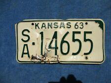 VINTAGE ORIGINAL 1963 KANSAS LICENSE TAG SA 14655 PLATE WALL HANGER  MAN CAVE