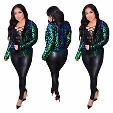 Women Fashion Long Sleeve Metallic Paillette Short Jacket Party Casual Clubwear