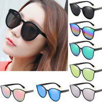 Fashion Women Mirror Square Flat Top Cat Eye Sunglasses Oversized Eyewear UV400