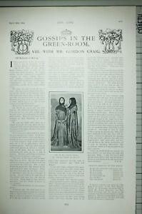 1904 PRINT GOSSIPS IN THE GREEN ROOM WITH MR GORDAN CRAIG LYRIC THEATRE