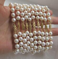 wholesale 10pcs 8-9mm white  akoya pearl bracelet 7.5-8inch 14K Gold Clasp