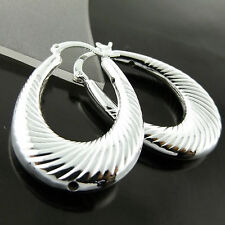 EARRINGS HOOPS  GENUINE REAL 925 STERLING SILVER S/F CLASSIC ANTIQUE DESIGN