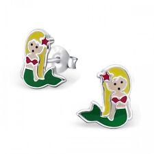 Childrens Girls Sterling Silver Green Mermaid Stud Earrings - Gift Boxed