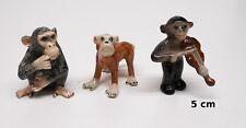 lot de trois singes en porcelaine, miniatures de collection, monkey,aap  tp17