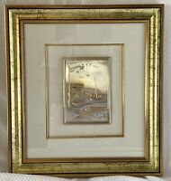 "Framed Wall Art Fishing Village Boat Scene 925 STERLING SILVER 3-D Italy 12""x14"""
