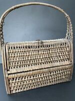 "Vintage Woven Purse Bag Basket Wooden Wicker Rattan ""Hinged"" Ethnic Decor Spain"