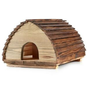 Large Wooden Hedgehog House - Solid Wood Construction Hedgehogs Feeding Station