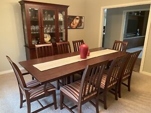 SET - Extension dining table 8 chairs buffet solid cherry like new!