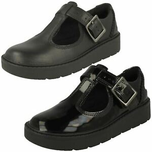 Girls Clarks Smart Wedge Buckle T-Bar Leather Shoes Plain Move K
