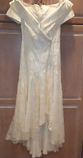 CREAM LACE LONG PROM FORMAL DRESS EVENING WEAR LADIES SIZE 9/10