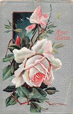 1909 Best Wishes Postcard of Beautiful White Roses on a Silver Background-6460
