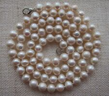 "7/ 8 mm White Akoya Cultured Pearl Necklace - 25.5"" long."