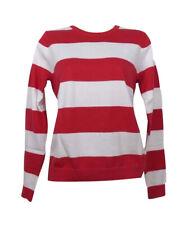 GANT Womens Premium Cotton Striped Jumper Crew Neck Top - Red White