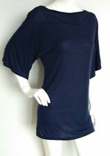 STEFANEL long casual jersey top size L --MINT--USED ONCE navy elbow sleeves