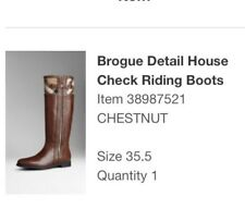 Burberry Leather & House Check Boots Size 35.5 RP $1200 As new