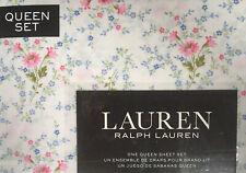 Ralph Lauren Queen Sheet Set 4pc White Blue Pink Meadow Floral Farmhouse Cottage