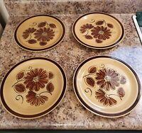 "Mid-Century LA Mesa stoneware Daisy 10 1/2""  Dinner plate , Vintage, (Set of 4)"
