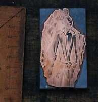 MANN im MANTEL Galvano Druckplatte Klischee Eichenberg printing plate copper