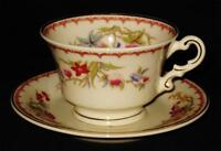 Syracuse China Old Ivory BOMBAY Cup & Saucer Set, Floral with Bird