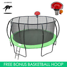 16ft Fiberglass Round Trampoline Kids Safe Enclosure Net Basketball Hoop Ladder