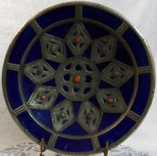 Atq IZNIK PERSIAN ISLAMIC OTTOMAN COBALT BLUE w/ METAL OVERLAY & CABOCHONS BOWL